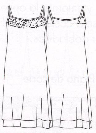 PATRONES №293 ESPECIAL VACACIONES 2010 июнь Модель 1. Платье на лямках. Технический рисунок