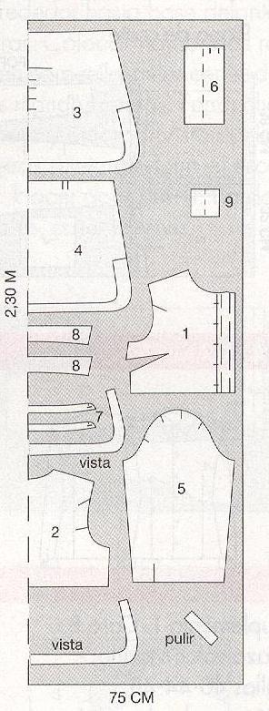 PATRONES №295 AVANCE OTONO 2010 июль модель 1. Голубой блузон Схема раскроя