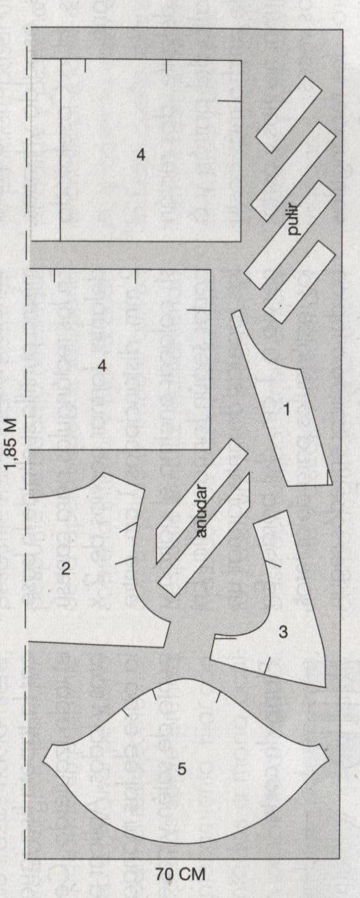 PATRONES №2 TALLAS GRANDES 2011 EXTRA.  Модель 1. Блузон с рисунком. Платье MIRANDA. Схема раскроя