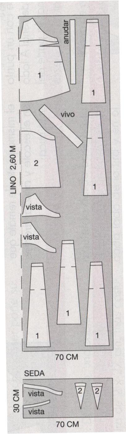 PATRONES №295 AVANCE OTONO 2010 июль модель 40, 41. Блузон с американскими проймами и юбка-клинка. Схема раскроя