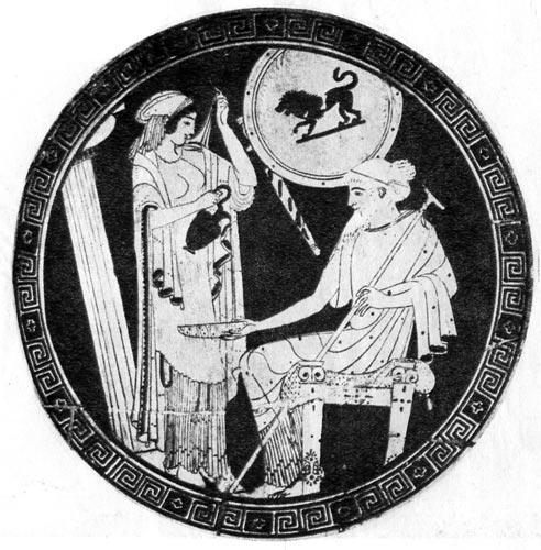 Женщина наливает вино старцу. Роспись на дне килика V век до н.э. Лувр, Париж. Оба одеты в хитоны, ниспадающие складками; коме того, на старце - гиматион, а на женщине - хламис