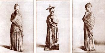 Раскрашенные терракотовые статуэтки из Танагры (IV в. до н.э.)