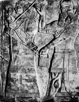 Крылатое божество благославляет хранителя королевского меча. Барельеф из тронного зала Северо-западного дворца, IX век до н. э. Нимруд. Британский музей, Лондон.