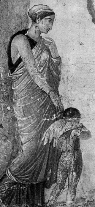 Пейто с Эротом. Настенная живопись из «Дома наказанного Амура» в Помпеях, около 25 г. н.э. Национальный музей, Неаполь. На богине серьги и браслет, одета она в ниспадающую по щиколотку столу, которая на плече скреплена фибулой. Волосы богини прикрыты тканью.