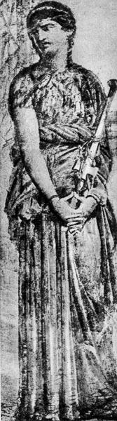 Медея из Геркуланума. Около 75 г. н. э. Национальный музей, Неаполь. Медея одета в столу, палла обернута вокруг бедер.