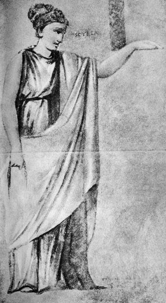 Скилла. Живопись, найденная у ворот Маранцио. Апостольская библиотека, Ватикан, Рим. Простая, ниспадающая до земли стола, через левое плечо на неё наброшена широкая палла; одежда подобна платью богини