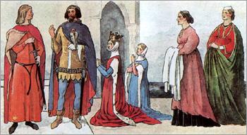 Итальянский костюм Раннее Возрождение 1310 - 1350 гг
