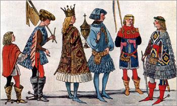 Итальянский костюм эпохи Раннего Возрождения. Влияние бургундской моды. Верхняя Италия. С картины Виварини