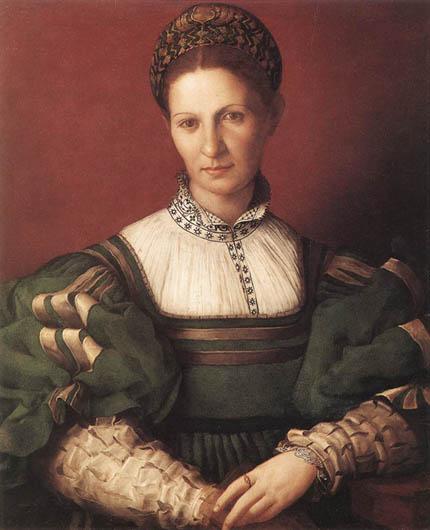 Аньоло Бронзино Портрет дамы в зеленом Костюм эпохи высокого Возрождения