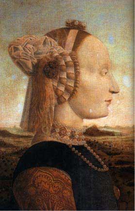 Пьеро делла Франческа, Портрет Баттисты Сфорца, жены Федериго да Монтефельтро. Галерея Уффици, Флоренция. Выбритый лоб и косы, украшенные лентами и драгоценностями, были обыкновенным явлением. Одежда из бархата и парчи украшена ожерельем в несколько рядов