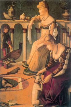 Витторе Карпаччо, Две куртизанки (деталь). Музей Коррер, Венеция. Обе девушки, изображенные на этой знаменитой картине, одеты в экстравагантные и дорогие платья, соответствующие их положению, с глубокими вырезами и разрезанными рукавами, через которые видно белье. Завитые волосы начесаны на лоб и дополнены накладными волосами