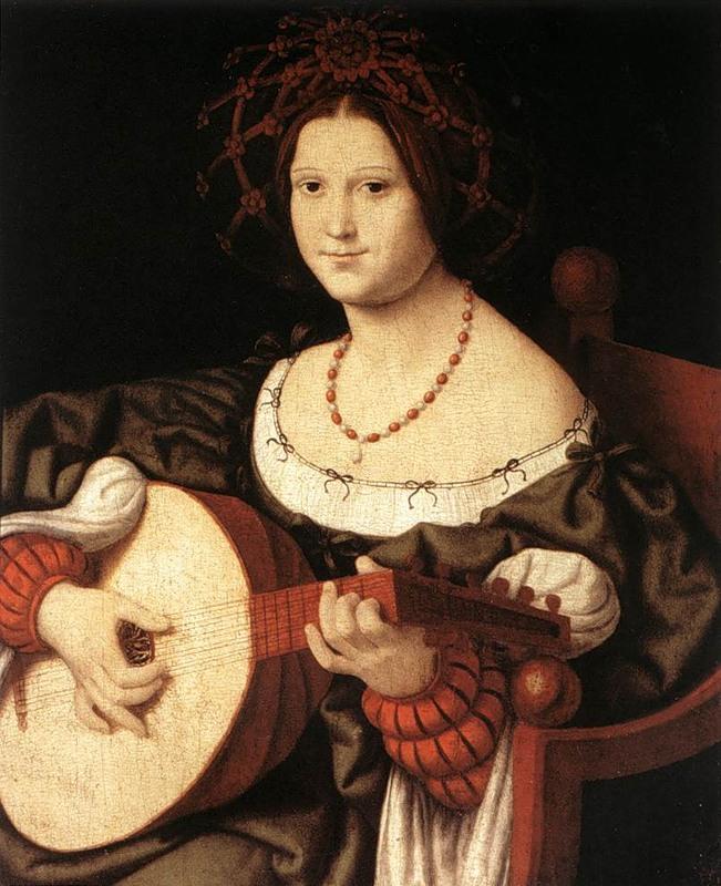 Андреа Соларио, Женщина с гитарой (деталь). Палаццо Венеция, Рим. Прическа с тюрбаном была излюбленной в Италии, особенно в XVI веке. На женщине платье с глубоким вырезом и с рукавами, имеющими прорези в запястьях.